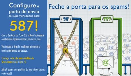 bloqueio da porta 25, use a porta 587